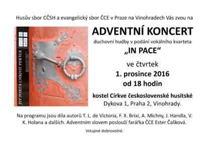 """ADVENTNÍ KONCERT duchovní hudby v podání vokálního kvarteta """"IN PACE"""""""