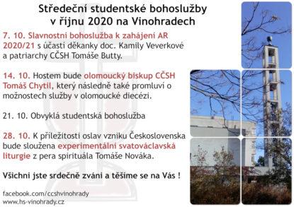 Studentské bohoslužby v říjnu 2020 v CČSH Vinohrady